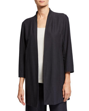 4580513ac4a Eileen Fisher Petite Open-Front 3/4-Sleeve Lightweight Stretch Crepe Jacket