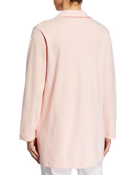 Joan Vass V-Neck Long-Sleeve Cotton Interlock Tunic