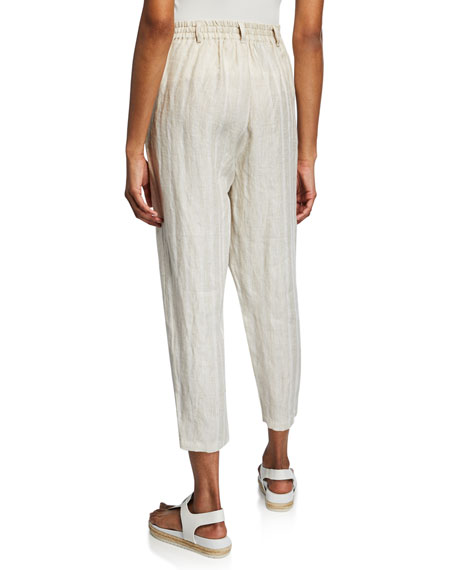 Masai Paolana Cropped Straight-Leg Linen Culotte Pants w/ Vertical Stripes