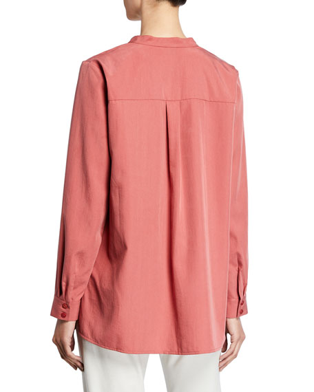Eileen Fisher Sand-Wash Band-Collar Long-Sleeve Shirt
