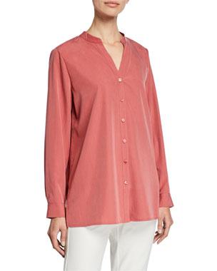 7d85f063bb9a1 Eileen Fisher Sand-Wash Band-Collar Long-Sleeve Shirt