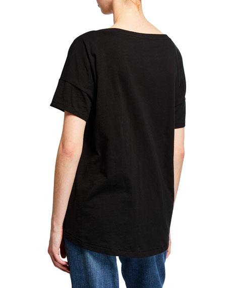 Eileen Fisher Petite Bateau-Neck Short-Sleeve Slub Cotton Jersey Tee