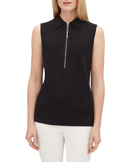 Lafayette 148 New York Zip-Front Sleeveless Fitted Polo Sweater