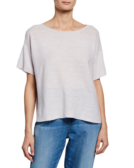 Eileen Fisher Plus Size Boat-Neck Short-Sleeve Organic Linen Box Sweater