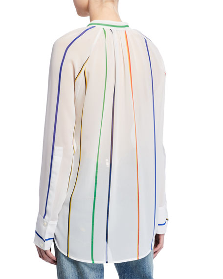 Derek Lam 10 Crosby Gathered-Neck Striped Button-Down Top