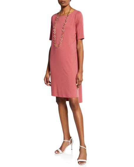 Eileen Fisher Plus Size Elbow-Sleeve High-Low Jersey Dress