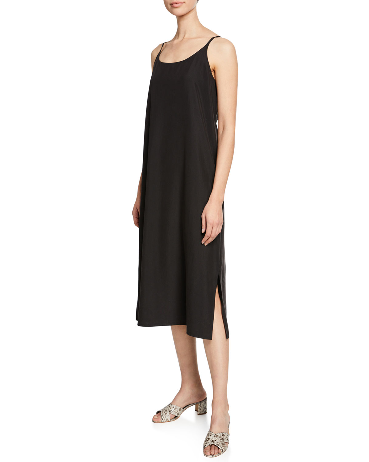 4549c4aeb793 Eileen Fisher Sandwashed Scoop-Neck Slip Dress | Neiman Marcus