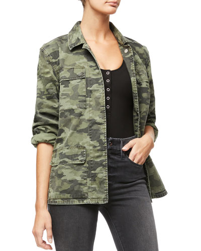 Snap-Front Camo-Print Utility Jacket - Inclusive Sizing