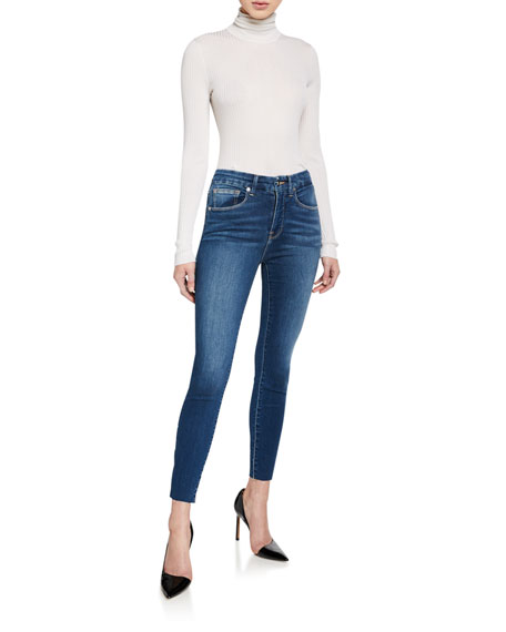 Good American Good Waist Cropped Skinny Jeans with Raw Edge - Inclusive Sizing