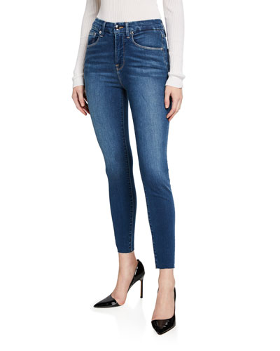 Good Waist Cropped Skinny Jeans with Raw Edge - Inclusive Sizing