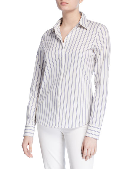 Lafayette 148 New York Phaedra Saguaro Stripe Button-Down Blouse