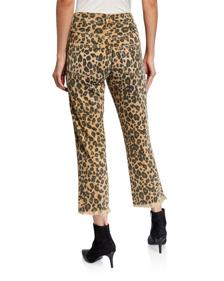 Image 2 of 3: AMO Denim Loverboy Leopard-Print Relaxed Cropped Straight Jeans