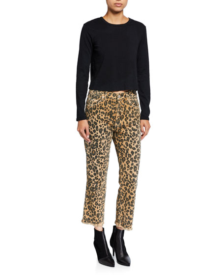 Image 3 of 3: AMO Denim Loverboy Leopard-Print Relaxed Cropped Straight Jeans