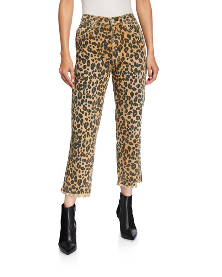 Image 1 of 3: AMO Denim Loverboy Leopard-Print Relaxed Cropped Straight Jeans