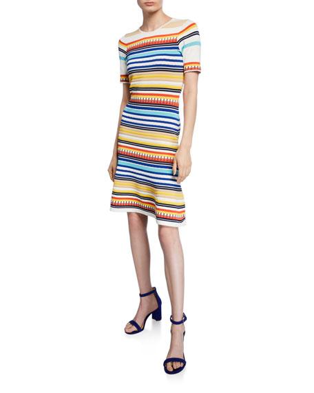 Shoshanna Adena Striped Short-Sleeve Dress