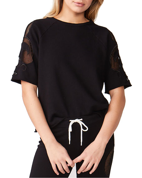 Monrow Crewneck Short-Sleeve Sweatshirt w/ Mesh Embroidered Insets