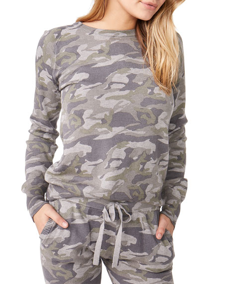 Monrow Camo Raglan-Sleeve Sweater