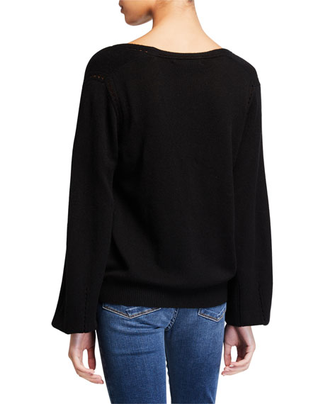 Image 2 of 2: Sustainable Cashmere Pointelle V-Neck Sweater