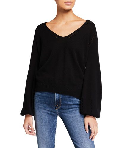 Cashmere-Wool Pointelle V-Neck Sweater