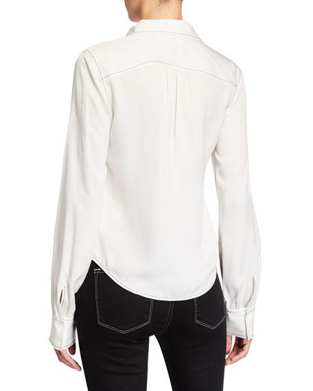 FRAME 70s Contrast-Stitch Silk Shirt