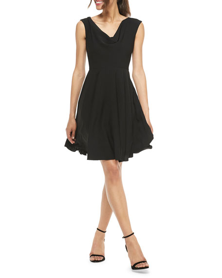 Gal Meets Glam Collection Cowl-Neck Sleeveless Fit-&-Flare Dress