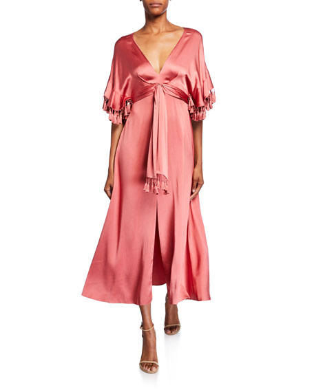 Sachin & Babi Jenny V-Neck Short-Sleeve Tassel-Trim Dress w/ Slit