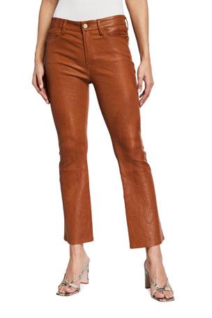 FRAME Le Crop Mini Boot-Cut Leather Pants