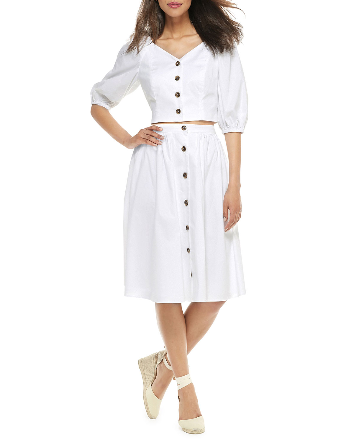 Gal Meets Glam Collection Two-Piece Button-Up A-Line Dress Set w/ Crop Top & Skirt