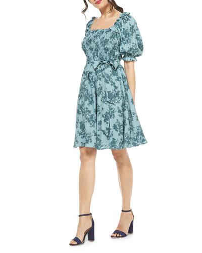 Square-Neck Smocked Dress