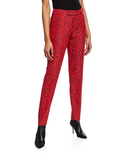 Prune Leopard-Print Pants