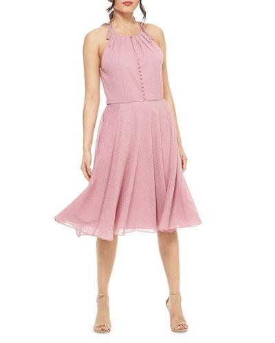 A-Line Shirred-Neck Halter Dress