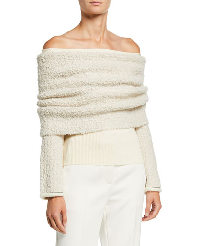 Off-Shoulder Boucle Pullover