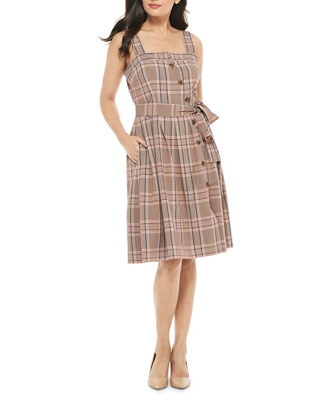 Gal Meets Glam Collection Slanted Button-Up Plaid Dress