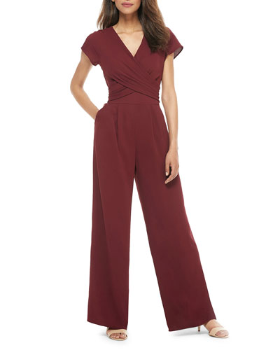 Crossover Wrap Jumpsuit w/ Pockets