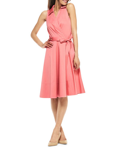 Wrap-Over Sleeveless A-Line Dress