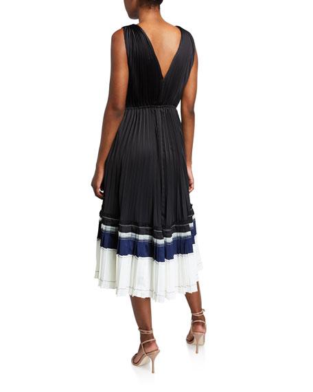 3.1 Phillip Lim V-Neck Pleated Sleeveless Midi Dress