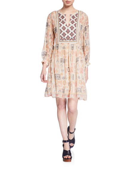 Velvet Tawni Printed Split-Neck Viscose Dress