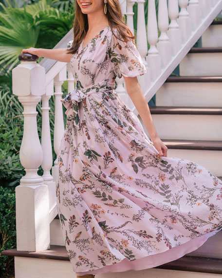 Gal Meets Glam Collection Floral V-Neck Blouson-Sleeve Maxi Dress