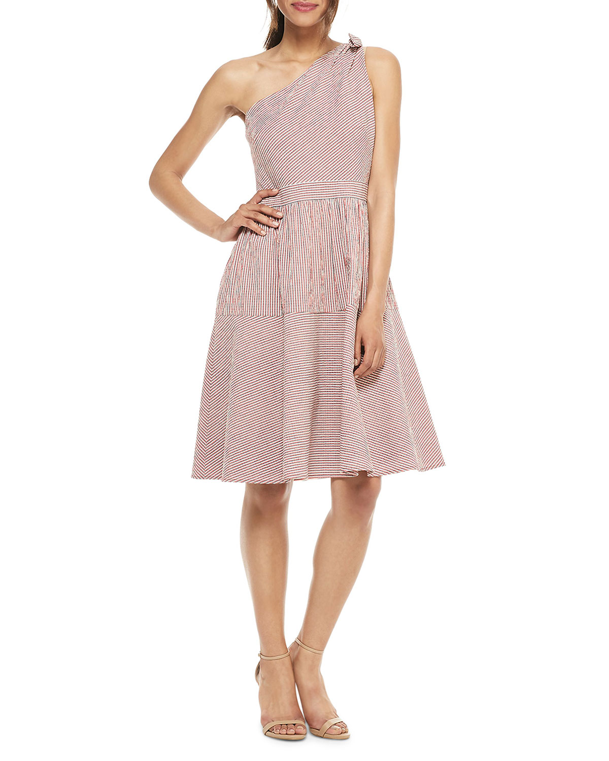 Gal Meets Glam Collection Striped One-Shoulder A-Line Dress