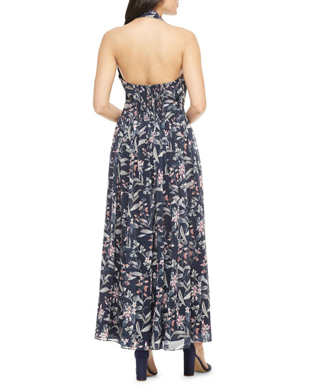 Gal Meets Glam Collection Floral-Print Maxi Halter Dress