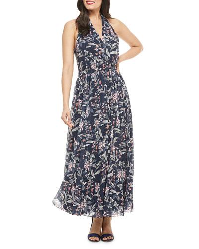 Floral-Print Maxi Halter Dress