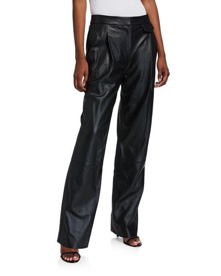 3.1 Phillip Lim Full Length Leather Wide-Leg Pants