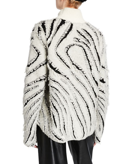 3.1 Phillip Lim Zebra Fringe Turtleneck Sweater