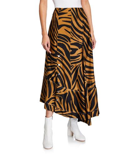 Pleated Zebra-Print Midi Skirt with Snaps
