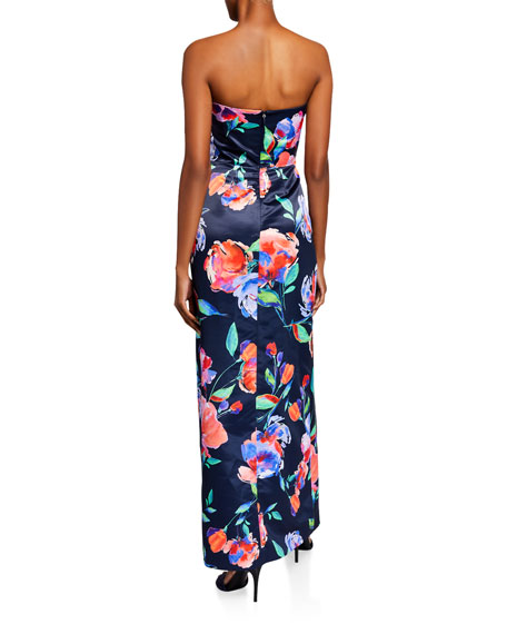 Parker Whitney Floral Satin Bustier Column Gown