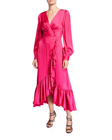 Sachin & Babi Ruby V-Neck Blouson-Sleeve High-Low Ruffle Dress