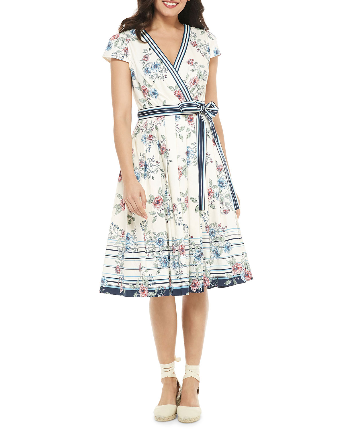 Gal Meets Glam Collection Floral Wrap Over Cap-Sleeve A-Line Dress