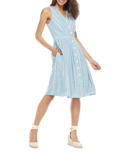 Striped Button-Up Sleeveless A-Line Dress