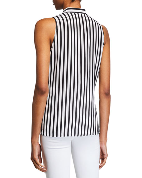 FRAME Striped Sleeveless Cravat Top