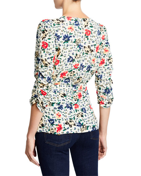 ba&sh Paco Floral Cross-Front Top
